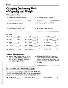 Changing Customary Units of Capacity and Weight Worksheet