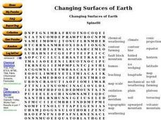 Changing Surfaces of Earth Worksheet