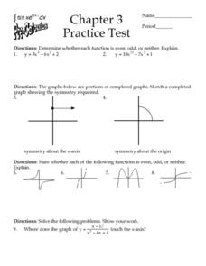 Chapter 3:  Practice Test - Functions Worksheet