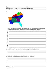 Chapter 3 Test: The Southeast States Worksheet
