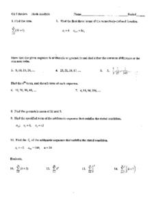 Chapter 9 Math Analysis: Sequences Worksheet