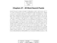 Chapters 27-28 Word Search Puzzle Worksheet
