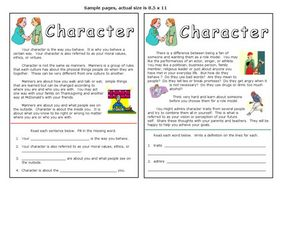 Character Activity Worksheet