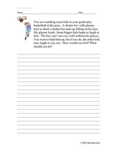 Character Education Story Worksheet