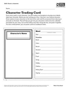 Character Trading Card Lesson Plan