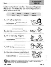 Character: Two Lunches at the Mill Worksheet