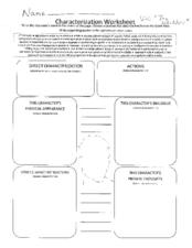 Printables Characterization Worksheet characterization worksheet 7th 12th grade lesson planet worksheet