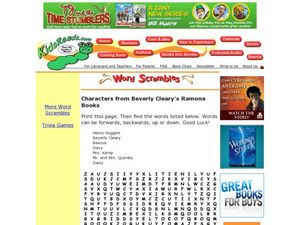 Characters from Beverly Cleary's Ramona Books Word Search Lesson Plan