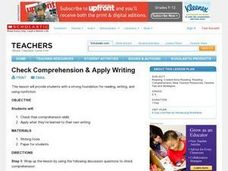 Check Comprehension & Apply Writing Lesson Plan