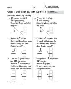 check subtraction with addition kindergarten 2nd grade worksheet lesson planet. Black Bedroom Furniture Sets. Home Design Ideas