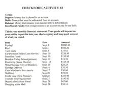 Checkbook Activity Worksheet