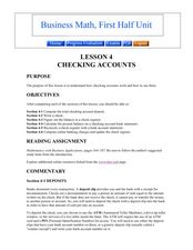 Checking Accounts Lesson Plan