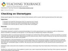 Checking on Stereotypes Lesson Plan