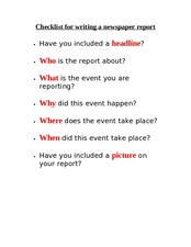 Checklist for Writing a Newspaper Report Worksheet