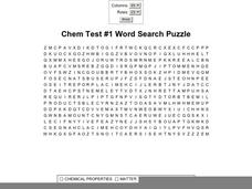 Chem Test #1 Word Search Worksheet