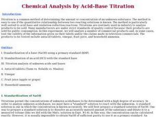 Chemical Analysis by Acid-Base Titration Lesson Plan