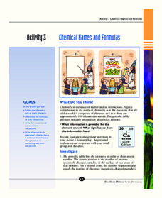 Chemical Names and Formulas 10th - 12th Grade Worksheet | Lesson ...