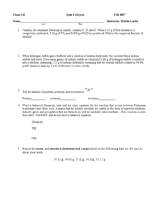 Chemistry Calculations Quiz Worksheet