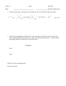 Chemistry Quiz-Energy Worksheet