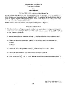 Chemistry Section II Worksheet