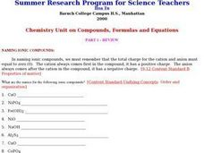 Chemistry Unit on Compounds, Formulas, and Equations Lesson Plan