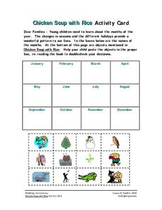 """Chicken Soup with Rice"" Activity Card Worksheet Worksheet"