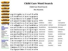 Child Care Word Search Worksheet