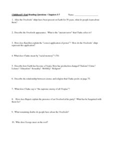 Childhood's End Reading Questions Chapters 5-7 Worksheet