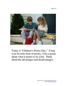 Children's Poetry Day: March 21st Worksheet