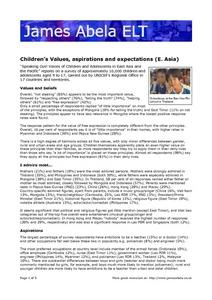 Children's Values and Aspirations Worksheet