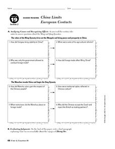 China Limits European Contacts Worksheet