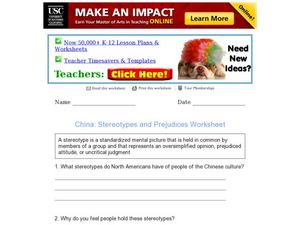 China: Stereotypes and Prejudices Worksheet