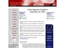 China Supports Neighbors Lesson Plan
