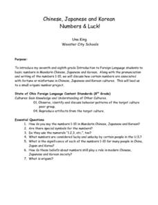 Chinese, Japanese and Korean Numbers and Luck! Lesson Plan
