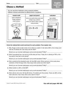 Choose a Method: English Learners Worksheet