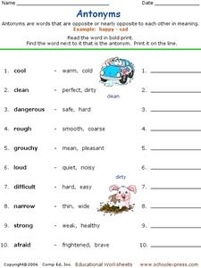 Choose the Antonyms Worksheet