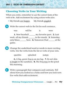 Choosing Verbs in Your Writing Worksheet