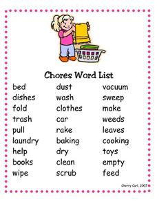 Chores Word List Worksheet