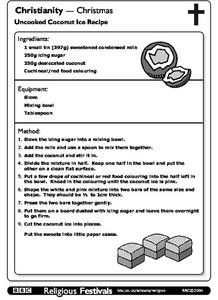 Christianity-Christmas: Uncooked Coconut Ice Recipe Worksheet