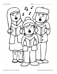 Christmas Carolers Coloring Page Worksheet