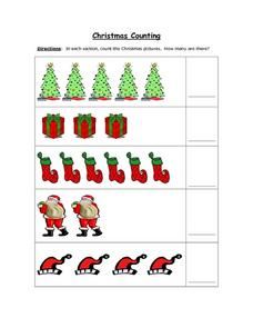 Christmas Counting (Color Copy: Up to 6 Objects) Worksheet
