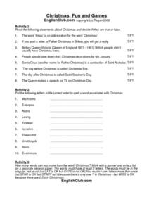 Christmas: Fun and Games Worksheet
