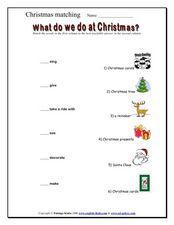 Christmas Matching Activity Worksheet