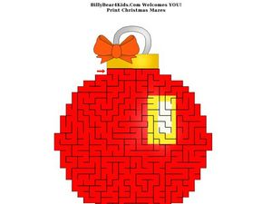 Christmas Ornament Maze Puzzle Worksheet