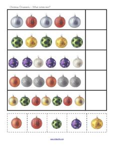 Christmas Ornaments- What Comes Next? Worksheet
