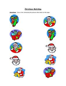 Christmas Picture Matching Worksheet