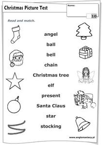 Christmas Word Matching Activity Worksheet