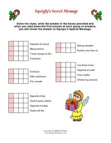 Christmas Word Puzzle- 4 Letter Words Worksheet