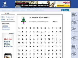 Christmas Word Search Worksheet