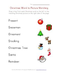 Christmas Word to Picture Matching Worksheet